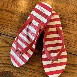 COACH WEDGE FLIP FLOPS🏝 RED STRIPES WITH BOW